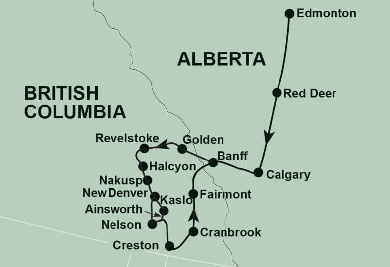 BC Hot Springs tour routing map