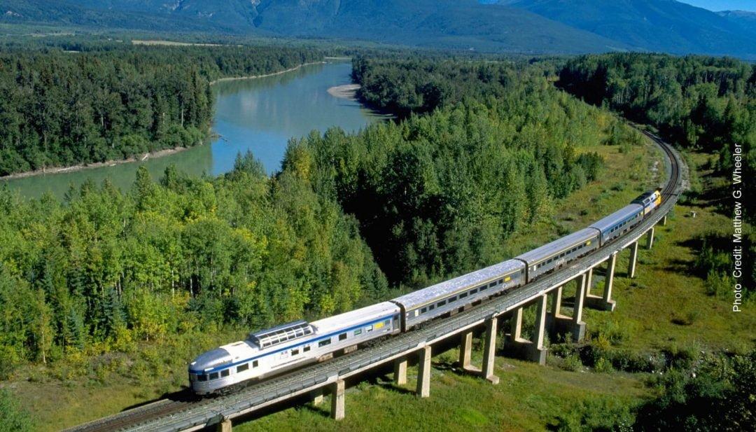 Via Rail Skeena Train on tracks along Skeena River BC Circle