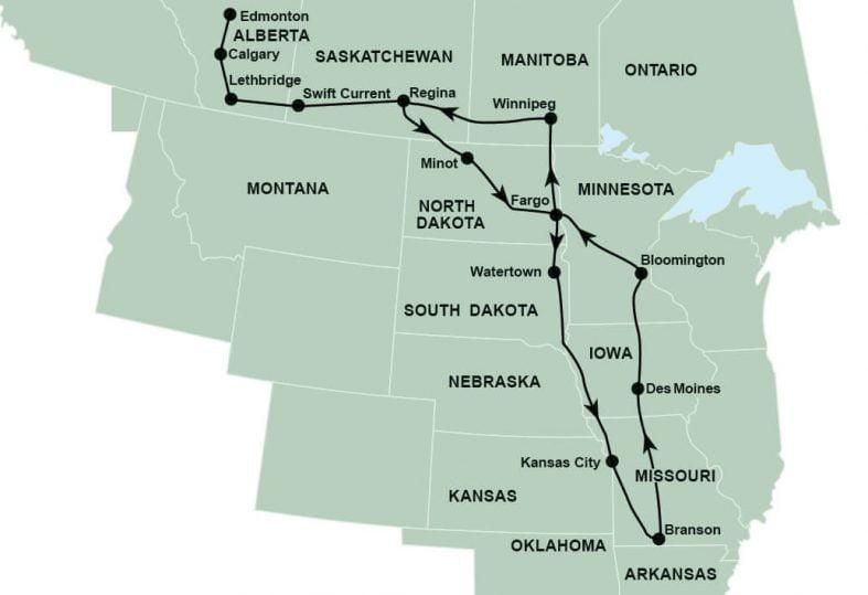 Tour route map Branson Show Tour