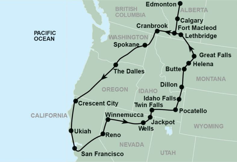 tour route map for California Redwoods