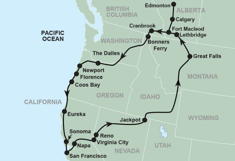 tour route map for oregon coast and california wine country
