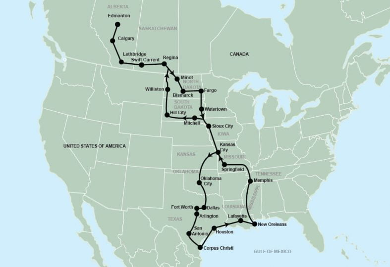 tour route map for Deep South Texas and Louisiana