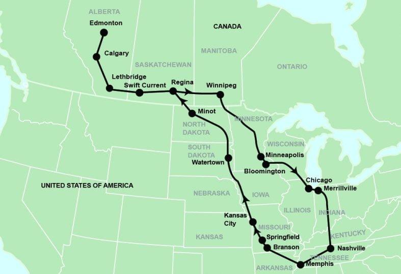 tour toute map for Nashville Branson Memphis