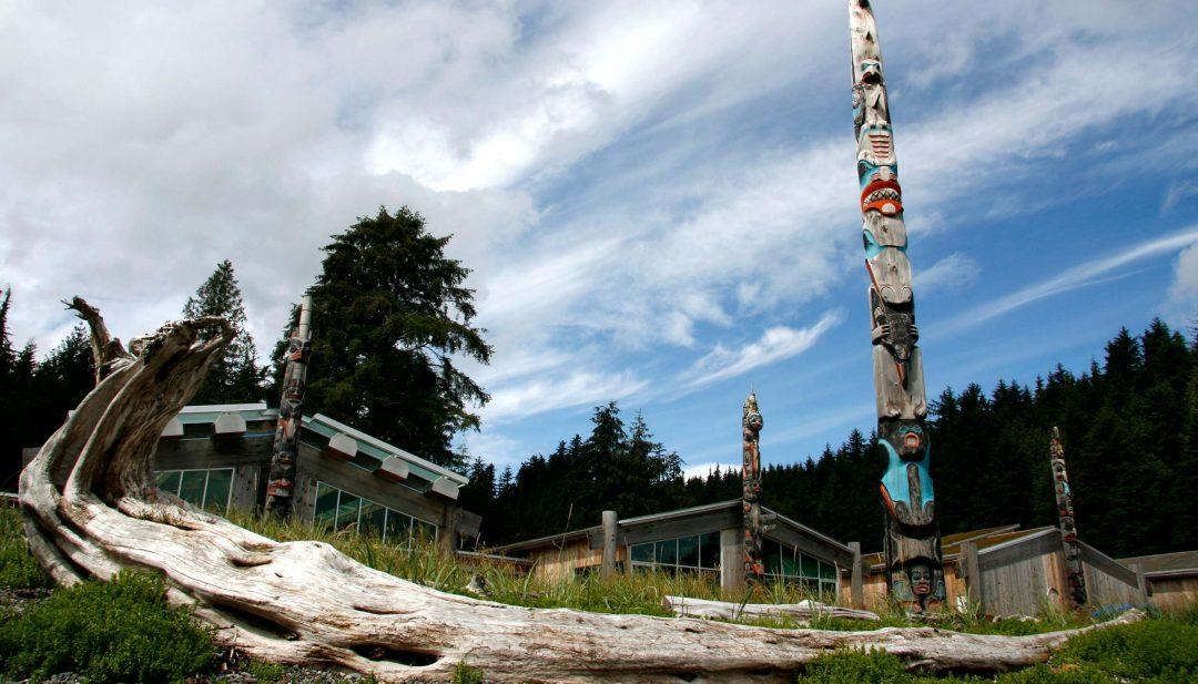 Totem poles and longhouses of Haida Heritage Centre Skidegate BC Haida Gwaii