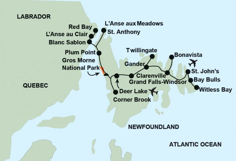 tour route map for Newfoundland and the Viking Trail