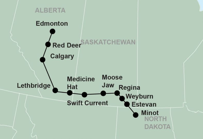 tour route map for Minot Hostfest Alberta departure