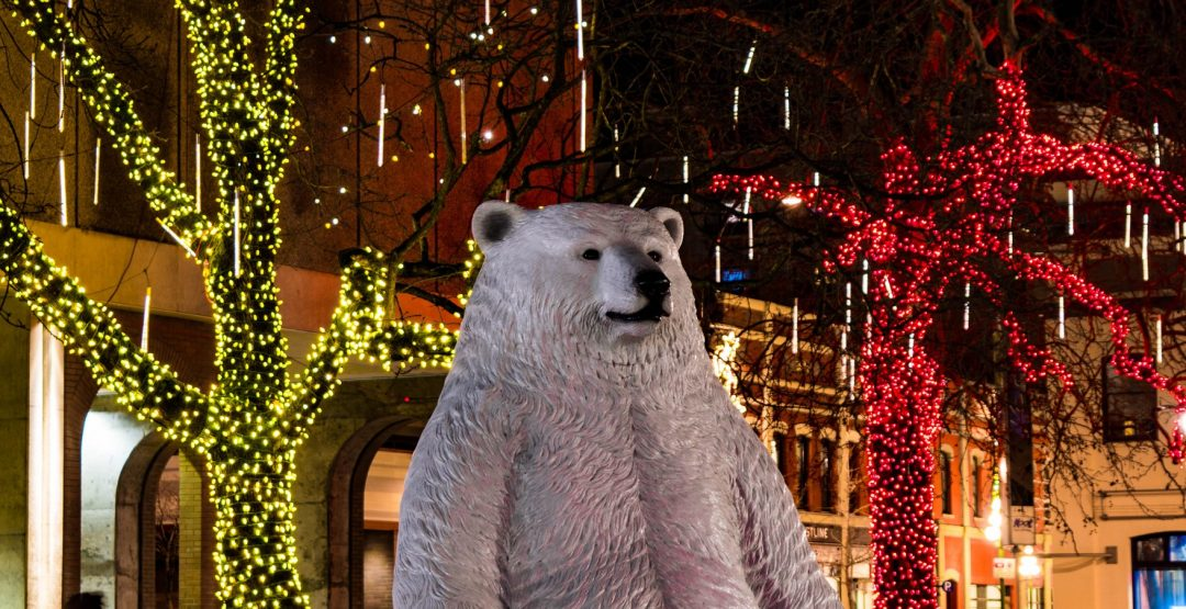 Polar Bear and lights Centennial Square Christmas in Victoria