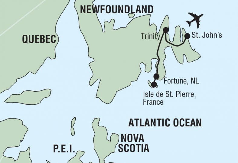 tour route of Newfounland East and St. Pierre France