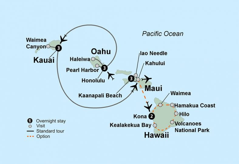 tour route map for Hawaiian Adventure