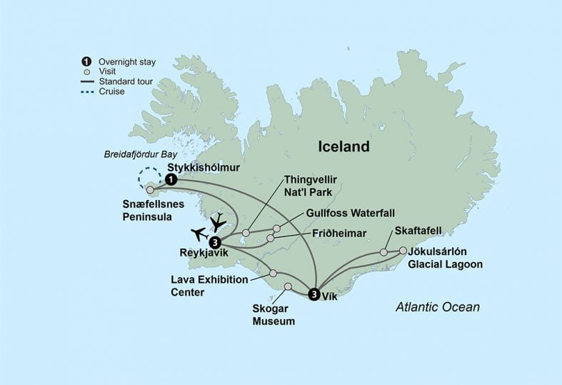 tour route map for Iceland