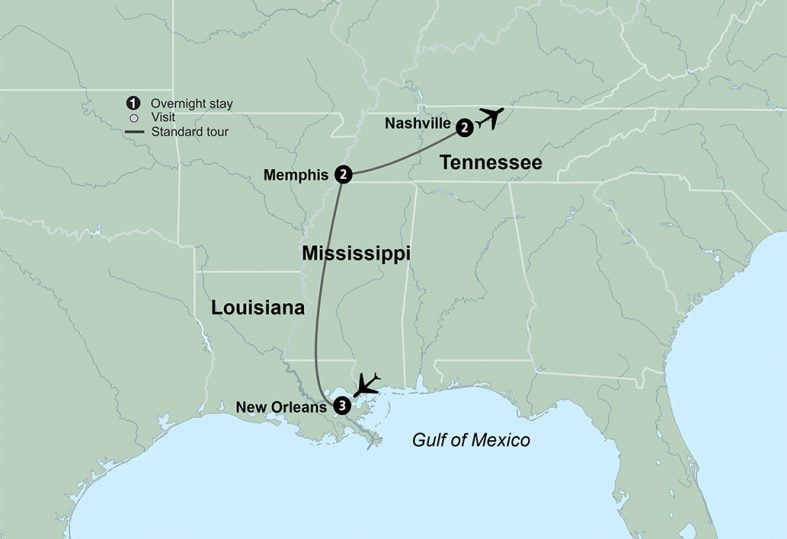 tour route map for Music Cities