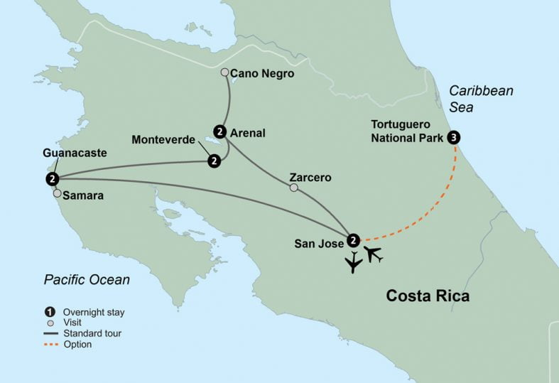 tour route map for Costa Rica