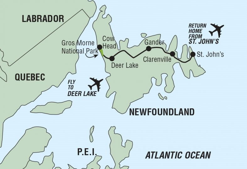 tour route map for Newfoundland Island Wide