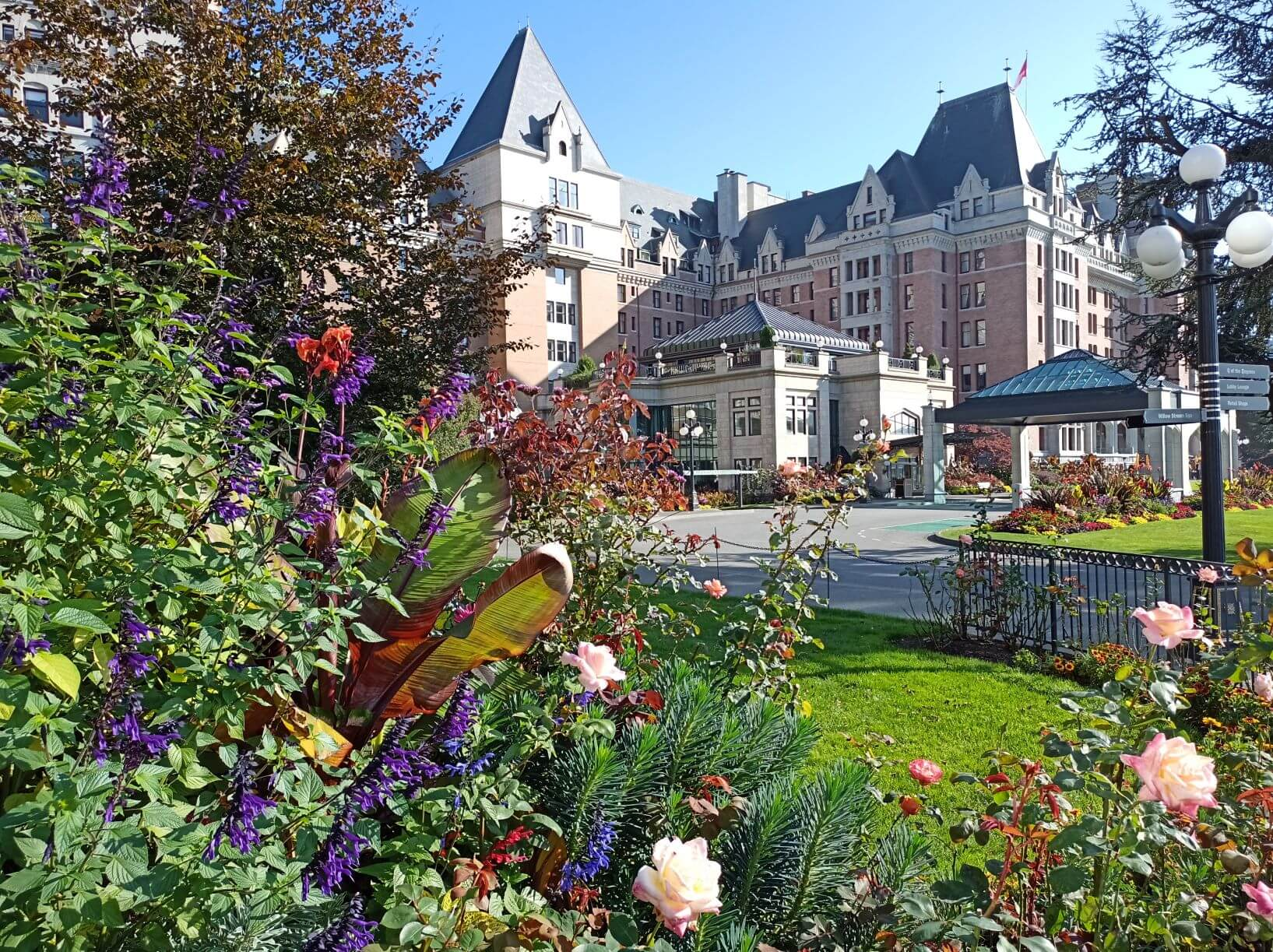 Empress Hotel with beautiful colourful flowers in front